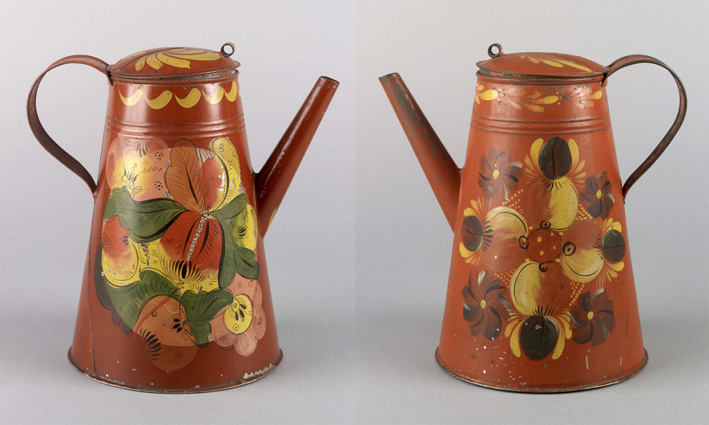 (Left) Coffeepot, attributed to Harvey Filley tinshop, Philadephia, Pennsylvania, 1830-60. (Right) Coffeepot, attributed to Aaron Butler tinshop, Greenville, New York, 1824-55.  Bequests of H.F. du Pont, 1959.2072,  1959.2068