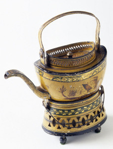 Teapot on stand, made in England, 1800-30.  Museum purchase, 1960.39