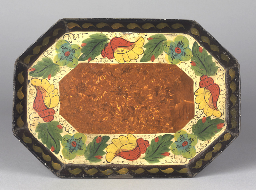 Tray, attributed to Frederick Zeitz tinshop, Philadelphia, Pennsylvania, dated 1874.  Bequest of H.F. du Pont, 1965.1717
