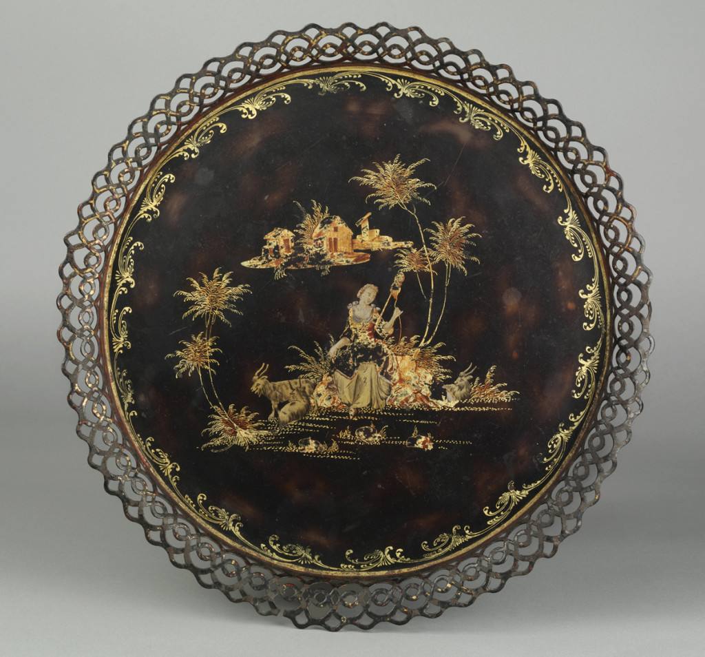 Tray, made in Pontypool, Wales or Birmingham, England, 1740-60.  Bequest of H.F. du Pont, 1958.2282.