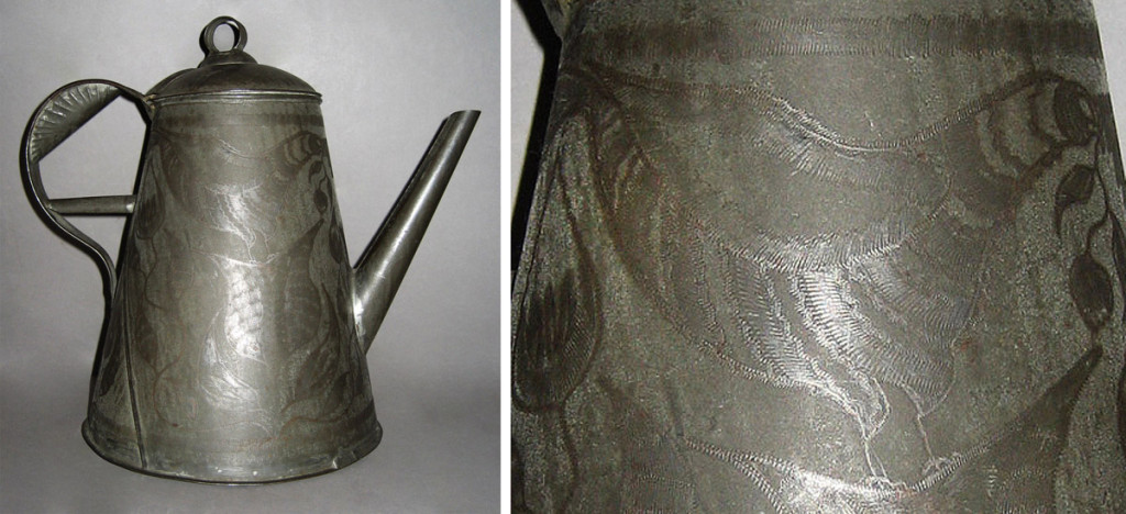 Coffeepot (and detail of wrigglework bird), made in southeastPennsylvania, 1830-60.Bequest of H.F. du Pont, 1960.711