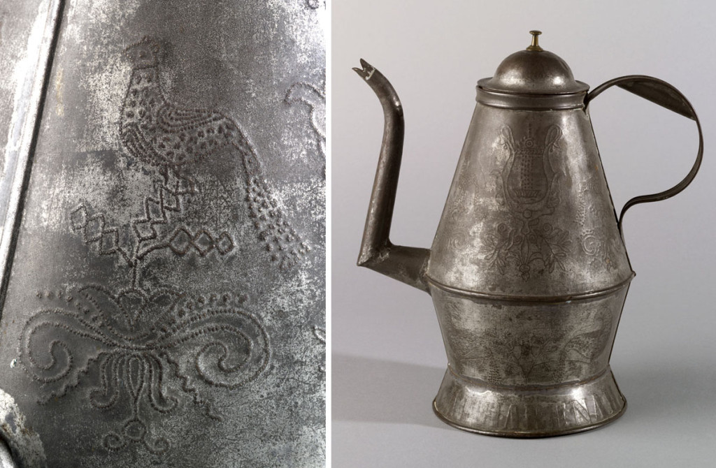 Coffeepot (and detail of punched bird), marked by Willoughby Shade, Montgomery County,Pennsylvania, 1850-70.Bequest of H.F. du Pont, 1965.2152